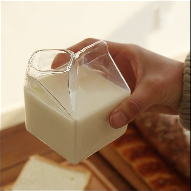 Milk Box Shaped Glass Cup