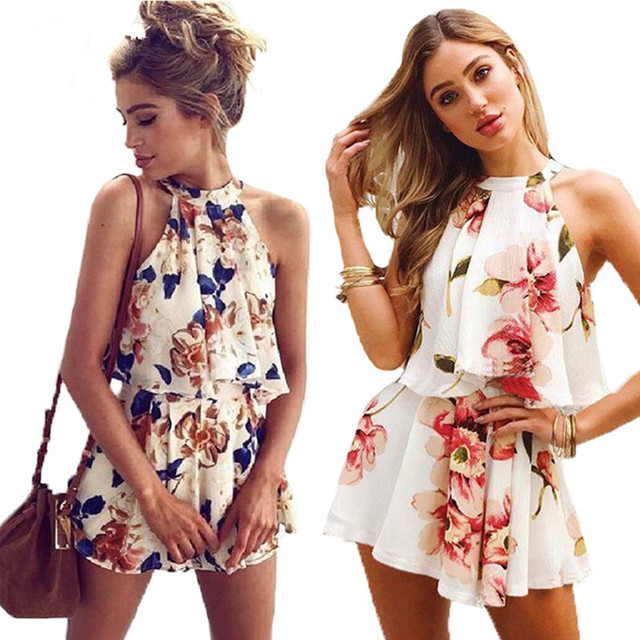 d5ebf604dc6 Very nice Sexy Floral Print Playsuit Women 2018 New Fashion Halter 2 Pieces  Tops and Shorts Boho Style Summer Jumpsuits Overalls