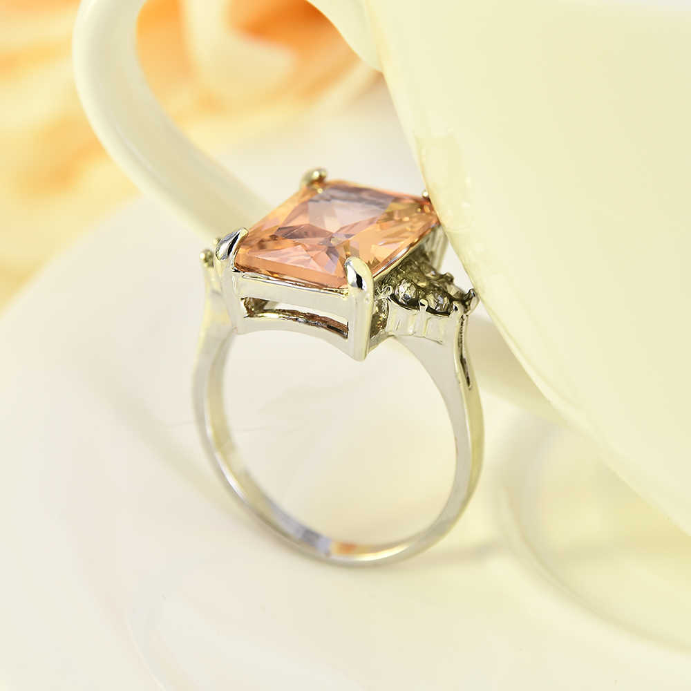 2019 ขนาดใหญ่ Morganite ผู้หญิง Rhinestone แหวนเงินงานแต่งงานเครื่องประดับ Damen Ringe Silber Joyeria Anillos Mujer Moda