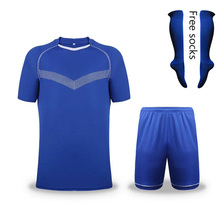1 sets color Blue Men Sportswear kits football soccer sets short sleeve jersey and shorts and