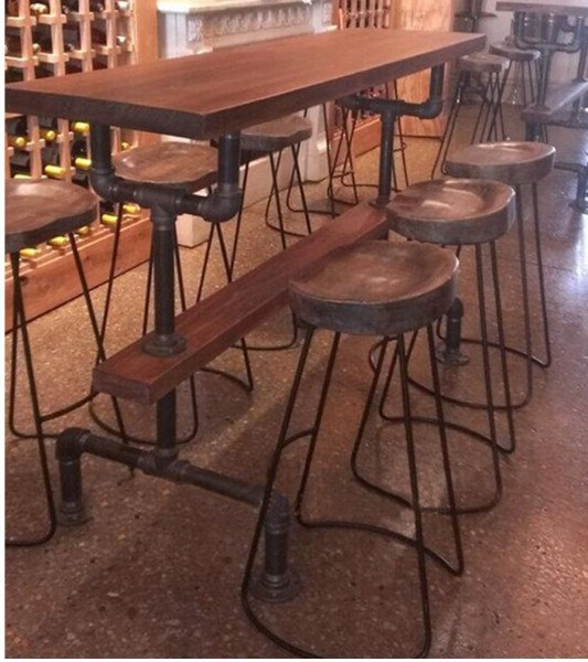 American Country To Do The Old Retro Industrial Pipe Steel Coffee Table  Wrought Iron Bar Chairs