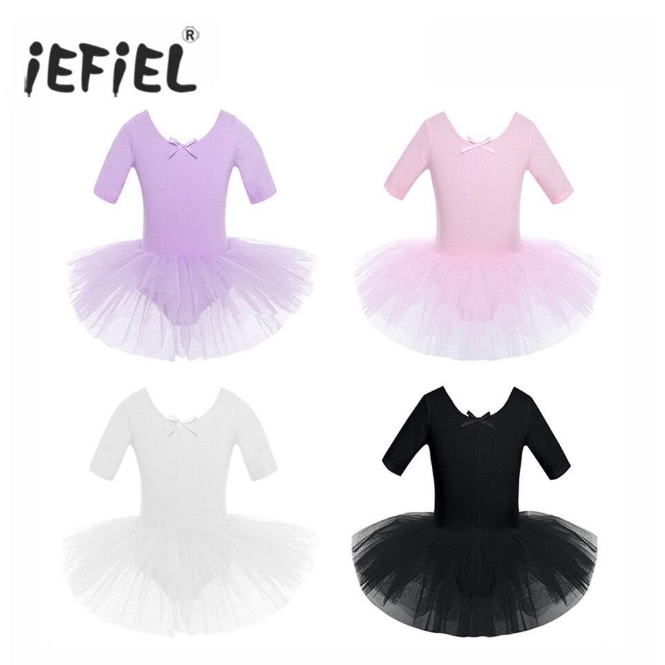 IEFiEL Teen Kinder Kurzarm Phantasie Party Tüll Ballett Tanz Kleid Gymnastik Trikot Mädchen Ballerina Tutu Kleid für Leistung
