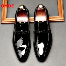 OMDE Black Patent Leather Men Loafers Pointed Toe Formal Shoes Men Dress Shoes Slip On Office Shoes Men's Wedding Shoes akamatsu embossed genuine leather formal business men shoes square toe slip on men dress loafers black office men shoes
