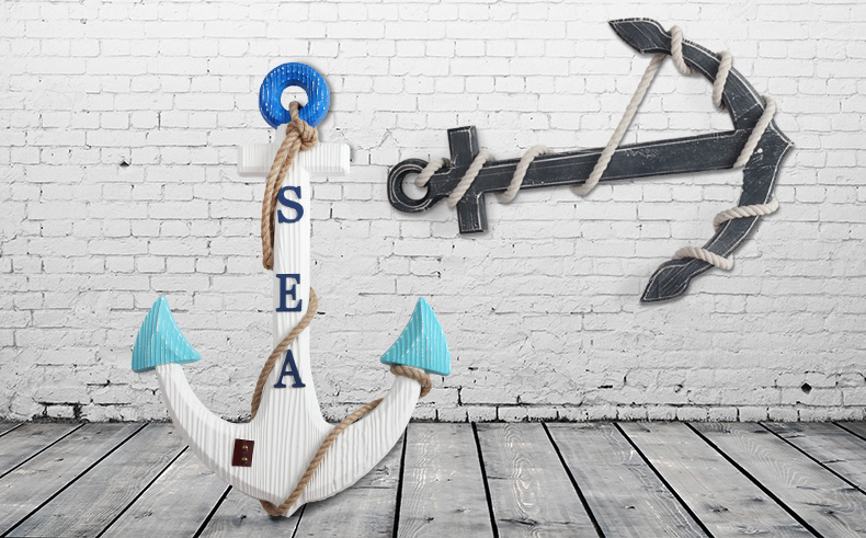 60 cm zeeanker mediterrane stijl muur decoratieve handgemaakte koffie - Huisdecoratie