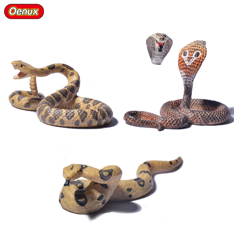 Oenux 3PCS Cold-blooded Animal Snakes Static Model Toy Rattle Snake Python Cobra Lifelike Action Figures Educational Toy For Kid italiano platinum deluxe