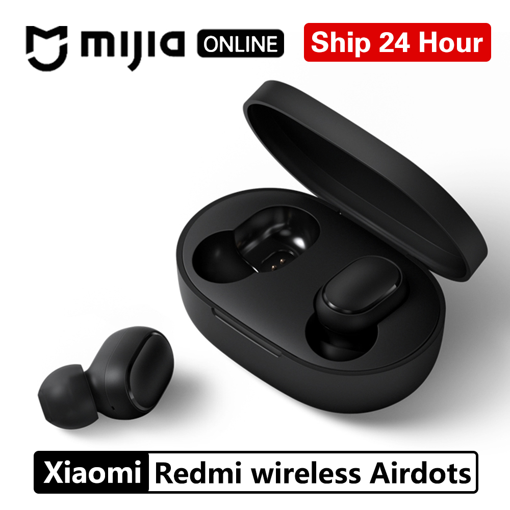 Xiaomi Redmi Airdots TWS Bluetooth 5.0  Earphone Stereo Wireless Active Noise Cancellation With Mic Handsfree Earbuds AI Control samsung