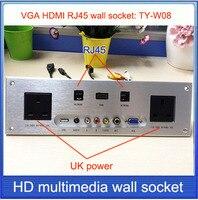 UK Power Socket HDMI VGA USB 2 0 RJ45 Wall Socket Aluminum Alloy Panel Multimedia Home