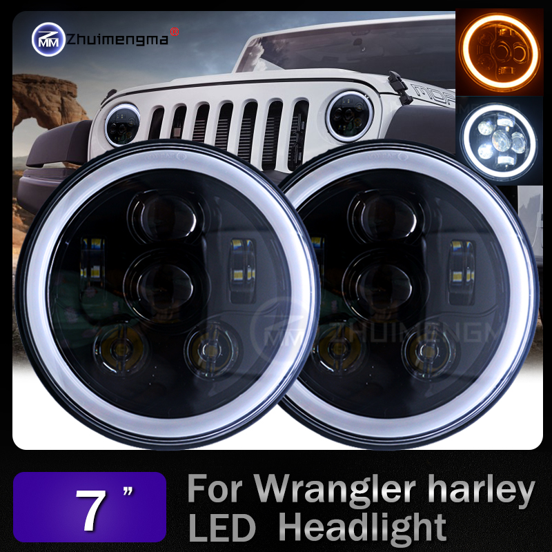 Newest 7 INCH LED Headlight Assemblies With White/Yellow Halo Angel eyes for Jeep Wrangler JK 2 Door Hummer Offroad headlamp marloo pair 7 led headlight for jeep wrangler jk headlamp with halo angel eye