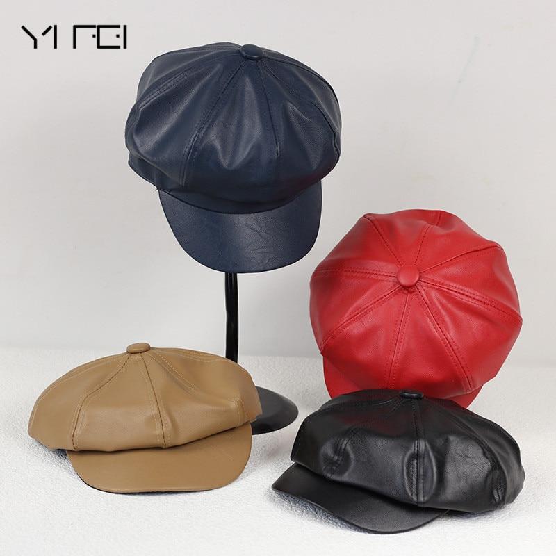 YIFEI 2017 Nuovo trasporto libero genuino dell'uomo del cuoio tappo strillone Cappuccio Ottagonale cappello berretto CBD di alta qualità degli uomini Britannico cappello stile del cappello