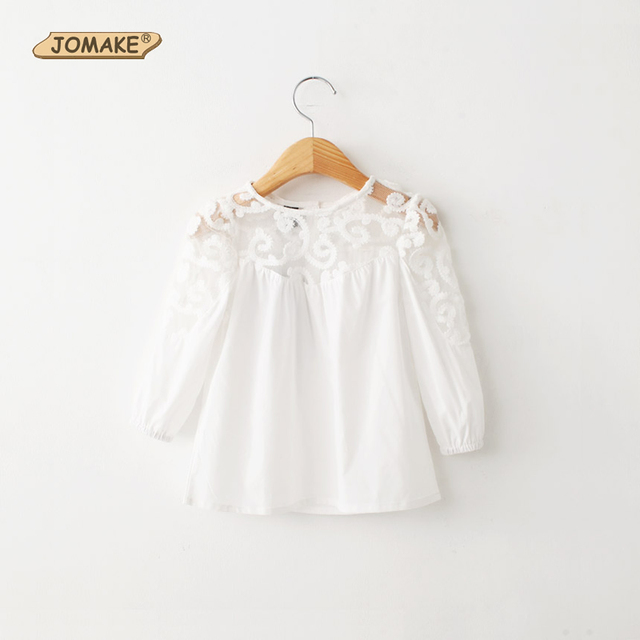 a8cc04d5a78 2018 Spring New Arrival Fashion Brand Children Clothing Kids White Shirts  Baby Tops Girls Lace Patchwork