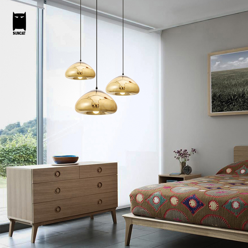 Gold Copper Silver Mirror Glass Void Pendant Light Fixture Modern Nordic Hanging Lamp Luminaria Design Dining Table Room Bedroom 25 30 40cm iron clear glass globe ball pendant light fixture modern simple nordic lamp avize luminaria dining table room hallway