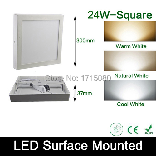 ФОТО 24W surface mounted LED Panel light AC 85-265V  4000K square led painel ceiling lights for bathroom illumination free shipping