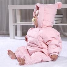 Новые зимние детские комбинезоны утка пуховик детская одежда снег носить утолщаются теплые малышей мальчики девочки верхняя одежда комбинезоны