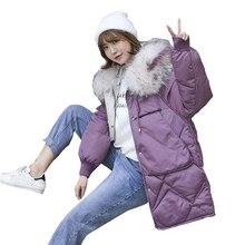Большой размер, женский пуховик, Женская куртка с большим меховым капюшоном, пуховик для женщин, зима, парка для женщин, пуховик, куртка для женщин