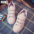 LIN KING New Style Women Casual Shoes Round Toe Thick Sole Low Top Leisure Shoes Hook Loop Solid PU Spring Massage Walking Shoes