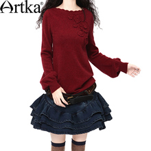 Artka Women'S Autumn Vintage Slash Neck Full Sleeve Solid Slim Waist Applique Medium-Long Cashmere Sweater SC15335D Apple