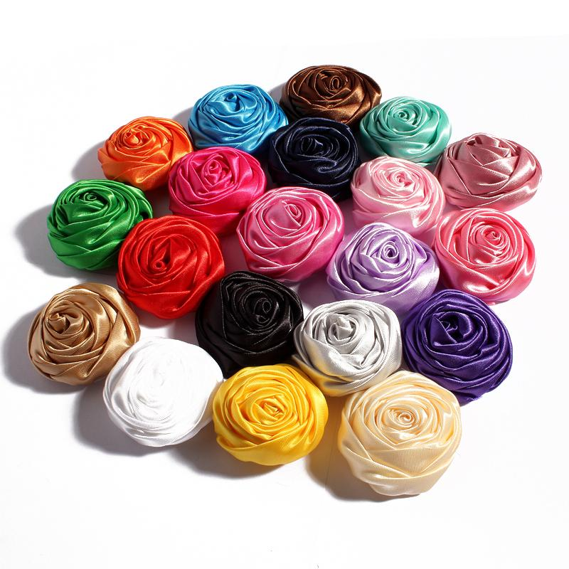 200pcs lot 5CM 20Colors Novelty Artificial Soft Satins Ribbon Rolled Rose Fabric Flowers For Headbands Children