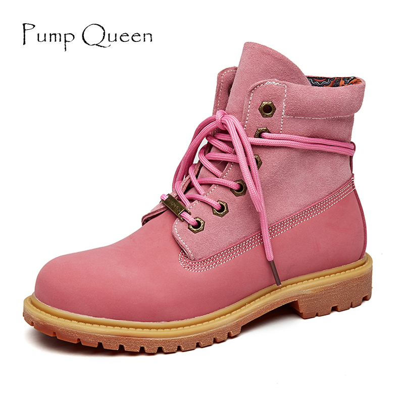 Martain Shoes Woman Shoes For Spring Autumn Genunie Leather Flock Ankle Boots Lace-Up Round Toe Solid Sewing Pink Beige front lace up casual ankle boots autumn vintage brown new booties flat genuine leather suede shoes round toe fall female fashion