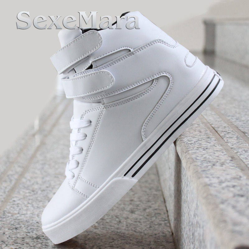 ФОТО 2016 High Tops Men Shoes Mens Casual Shoes White Red Black Lace Up Student PU Leather Boots Hook & Loop Board Shoes Red White