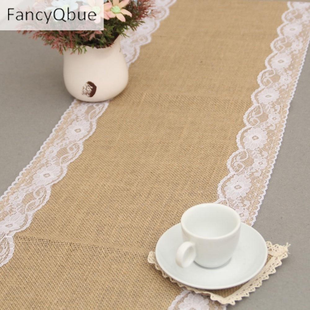 New 275cmx30cm Vintage Natural Burlap Jute Linen Table Runner Lace Cloth For Dinning Room Restaurant Table Gadget Home Decor