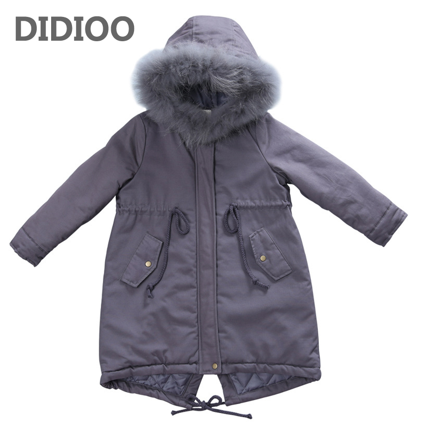 Children Winter Jackets For Girls Teenage Tops Thick Cotton-Padded Parkas Coats 2017 Fur Hooded Outerwear 6 8 10 12 13 14 Years buenos ninos thick winter children jackets girls boys coats hooded raccoon fur collar kids outerwear duck down padded snowsuit