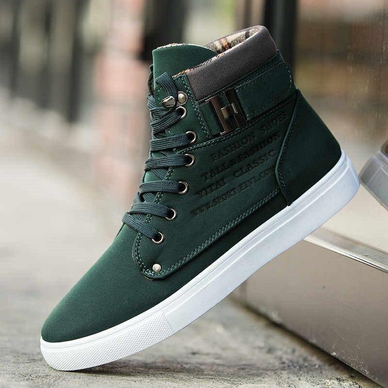 גברים של לגפר נעלי גברים אביב סתיו למעלה אופנה סניקרס שרוכים גבוהה סגנון מוצק צבעים איש שטוח Sneaker homme ילד נעליים