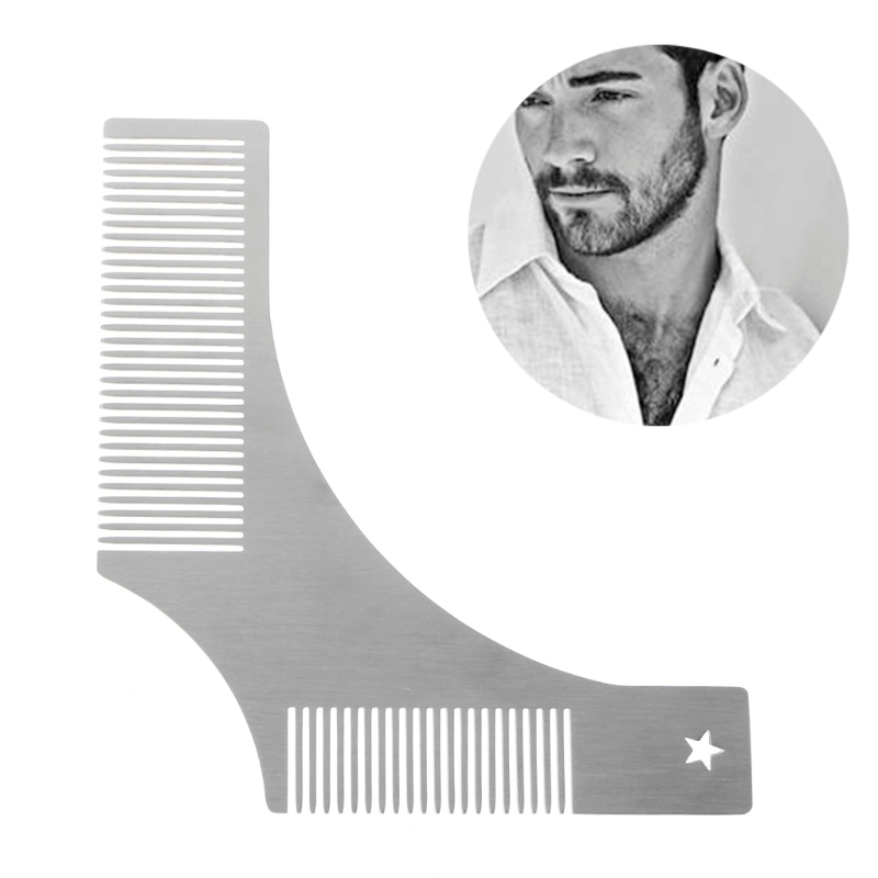 Stainless Steel Shaving <font><b>Brush</b></font> <font><b>Beard</b></font> Styling <font><b>Shaping</b></font> Template <font><b>Comb</b></font> <font><b>Tool</b></font> For Men