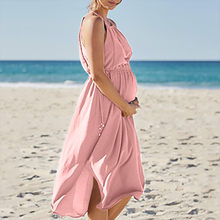 Women Maternity Dresses Summer Chiffon Casual Beach Pink Nursing Dress Breastfeeding Pregnant Clothes Vedtidos Para Mujer 19Apr8(China)