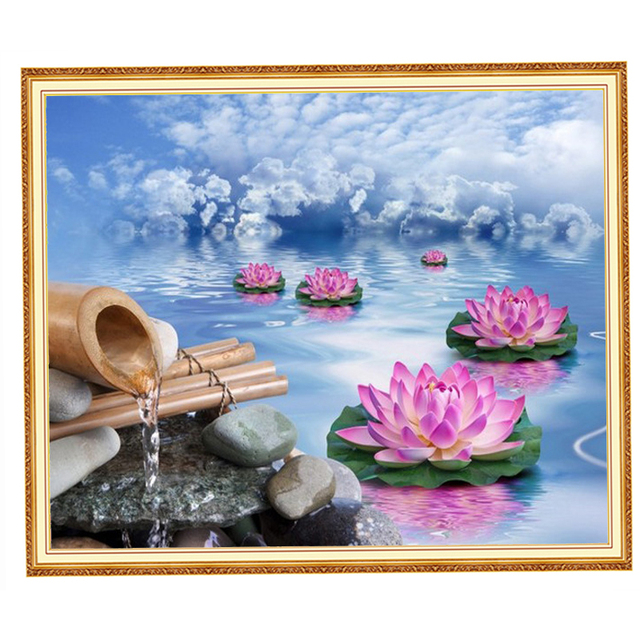 Diamond Painting Partial Landscape Sky Lotus Painting Diamond Diy 5d