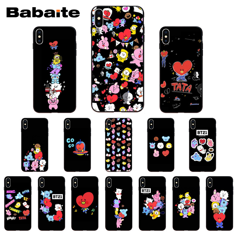 Babaite Bts Bangtan Bt21 Love Black Tpu Soft Rubber Phone Case Cover For Iphone 6s 6plus 7 7plus 8 8plus X Xs Xr Xsmax 5s 5c Se Yet Not Vulgar Phone Bags & Cases Half-wrapped Case