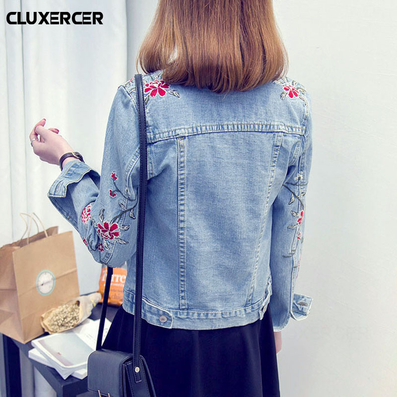 Floral Embroidery   Jacket   Coat Spring Long Ripped Denim   Jacket   Women Plus Size Jeans   Jacket   Women   Basic     Jackets