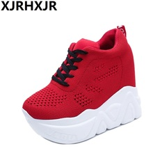 Women High Heels Autumn Fashion Canvas Casual Wedge Shoes Women Height Increasing Platform Shoes Zapatillas Deportivas Mujer cyabmoz women high heels platform shoes wedge genuine leather height increasing lace up low top party ladies shoes zapatos mujer