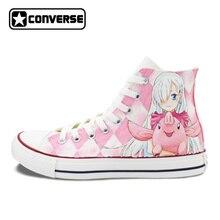 Anime Converse Chuck Taylor Nanatsu no Taizai Design Hand Painted Shoes Man Woman High Top Sneakers