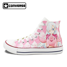 Anime Converse Chuck Taylor Nanatsu no Taizai Design Hand Painted Shoes Man Woman High Top Sneakers Women Men Christmas Gifts