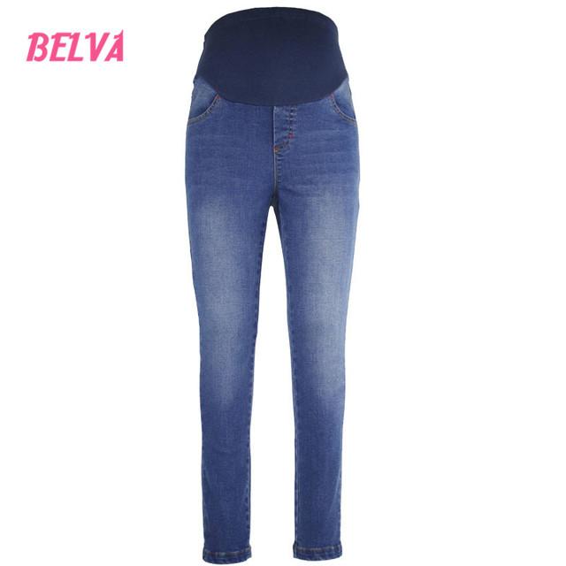 Belva Mamãe Maternidade Stretchy Denim Jeans Skinny Fit Belly Skinny Leg Jeans Maternidade grávidas roupas de inverno 536