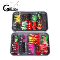 100pcs/set 20 Colors Fishing Fly Dry & Wet & Streamers & Steelhead & Nymphs Worms Flies Trout Salmon Fishing Lure