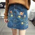 Summer Style Jeans Skirt Women Casual Slim Embroidery Denim Skirt Mini Saias Femininos Sigle Breasted Button