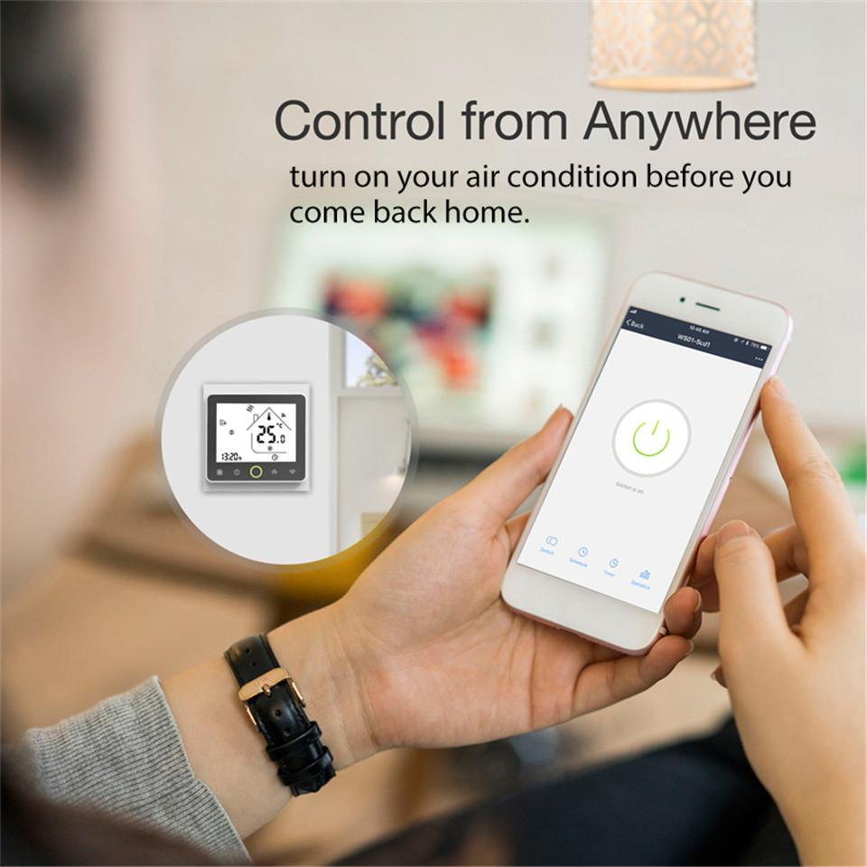 Смарт WiFi термостат регулятор температуры водяного теплого пола работает с Алексой Эхо Гугл дома туя
