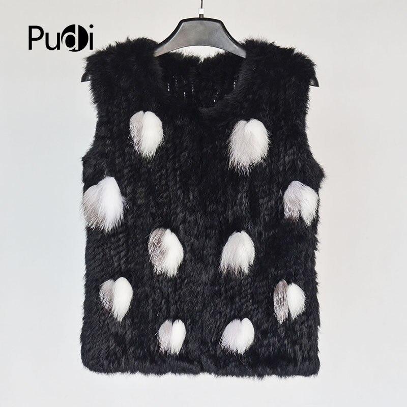 Pudi femmes réel lapin fourrure gilet 2018 hiver nouvelle fille véritable fourrure veste manteaux avec raton laveur argent renard couleur noire VT806