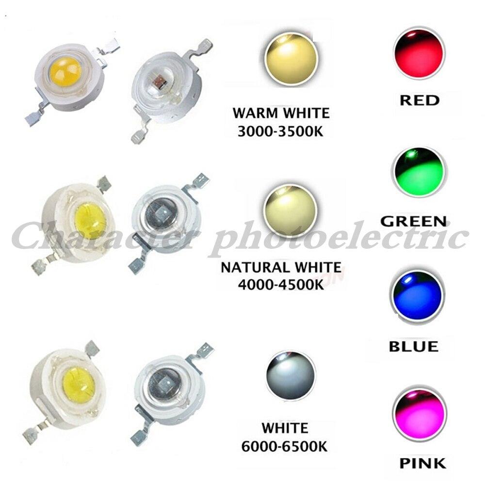 10pcs High Power LED Chip 3W Warm Cool White Red Blue Green UVA Full Spectrum 660nm 440nm LED Grow Light For 3 watt Light Beads