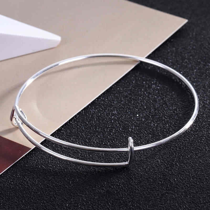Gold Color Adjustable Wire Bangle Bracelet Cable Expandable Charm Bracelets Bangles for Women Child Gift DIY Jewelry B002.