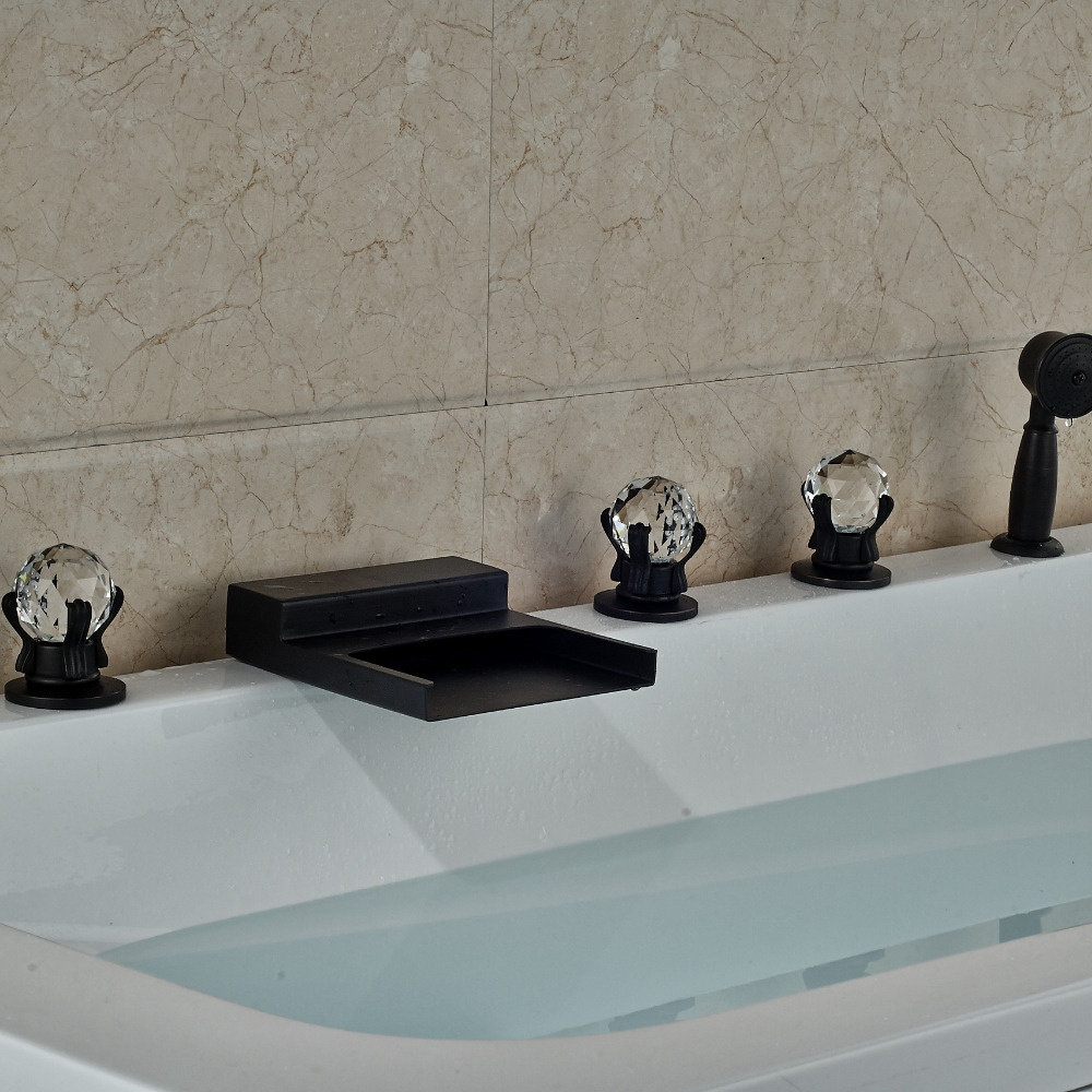 Oil Rubbed Bronze Waterfall Brass Bathroom Tub Faucet W/ Hand Shower Crystal Handles Deck Mount