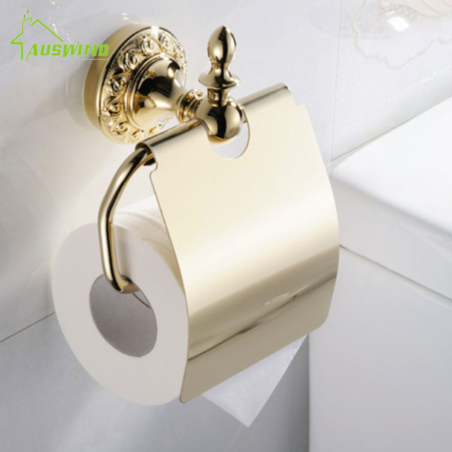 Auswind gold brass toilet paper holders flower plated tissue paper holder european bathroom wall mounted toilet paper holder in paper holders from auswind gold brass toilet paper holders flower plated tissue paper holder european bathroom wall mounted toi