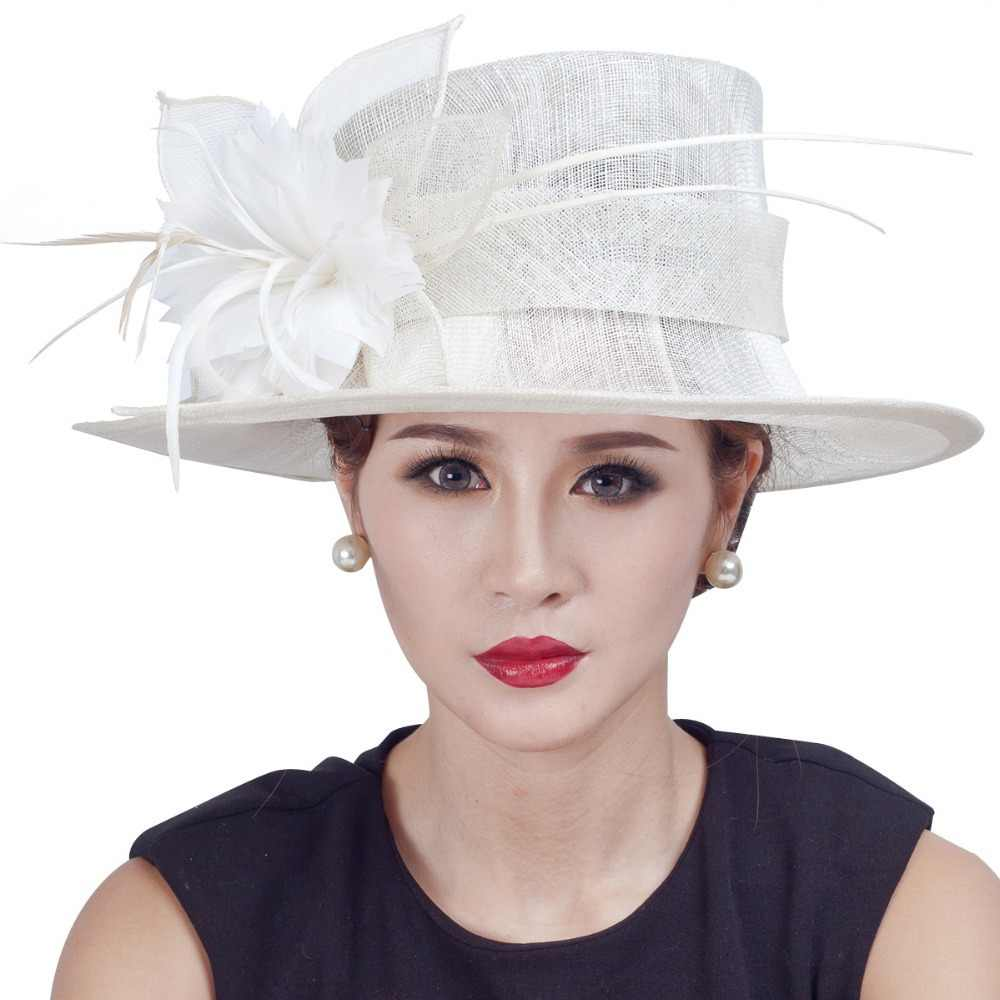 475a15abaf1af Detail Feedback Questions about New arrival! lady women races party fascinator  hats handmade large church sinamay hats with floral feathers on ...
