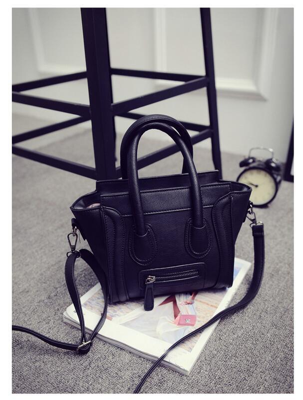 BLACK Trapeze Céline Inspired Women Handbag Cross Body Bag PU Leather