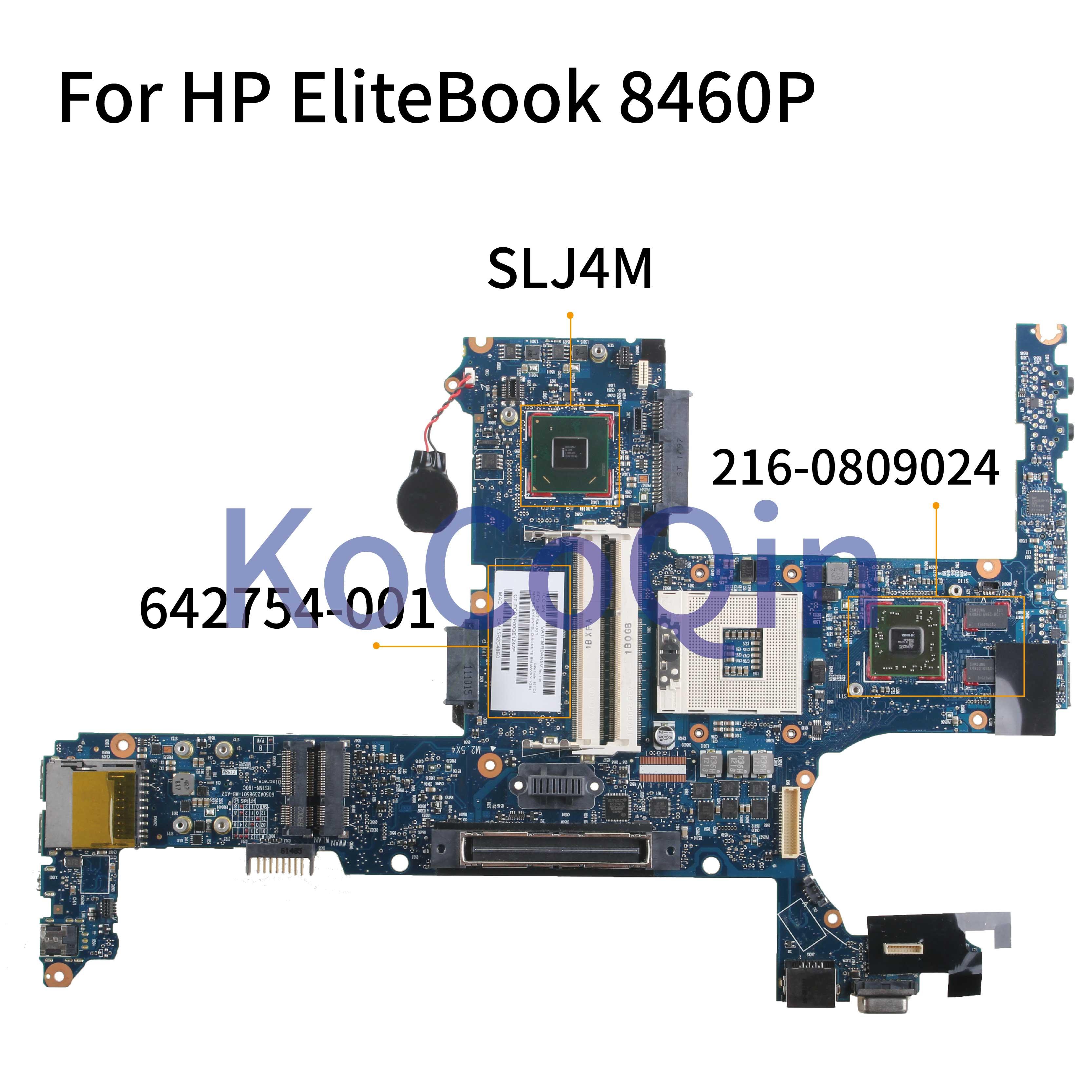KoCoQin Laptop Motherboard For HP EliteBook 6460B 8460P Mainboard 642754-001 642754-501 6050A2398501 SLJ4M 216-0809024