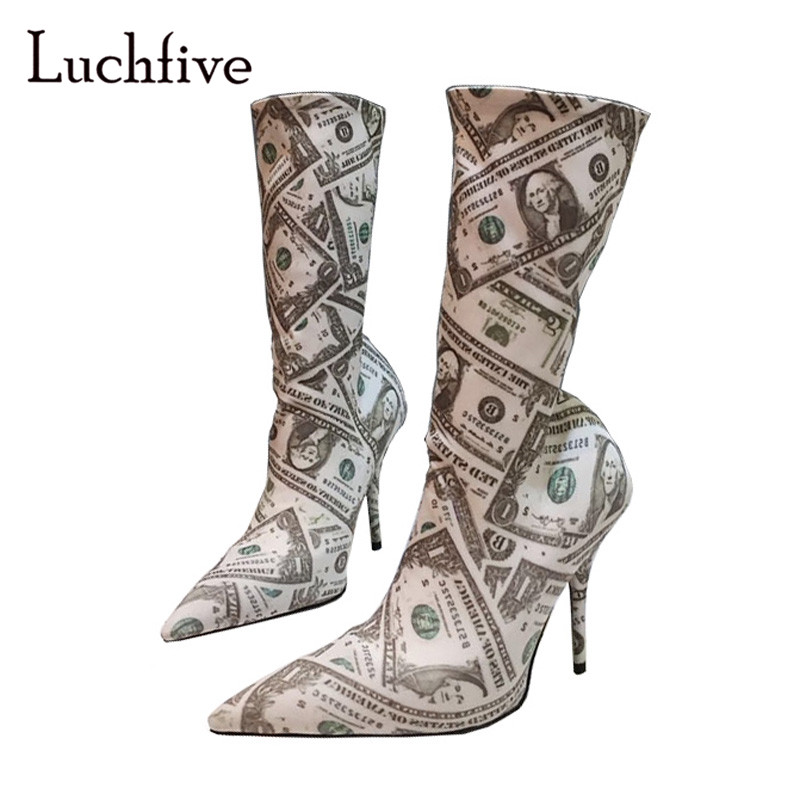 2018 Dollar Stretch Sock Boots Woman Pointed Toe Strange High Heel Boots Lady Over The Knee Boots Women Fashion Ankle Boots jawakye black wool knit sock boots women pointed toe rhinestone heel stretch long boots woman fashion over the knee boots