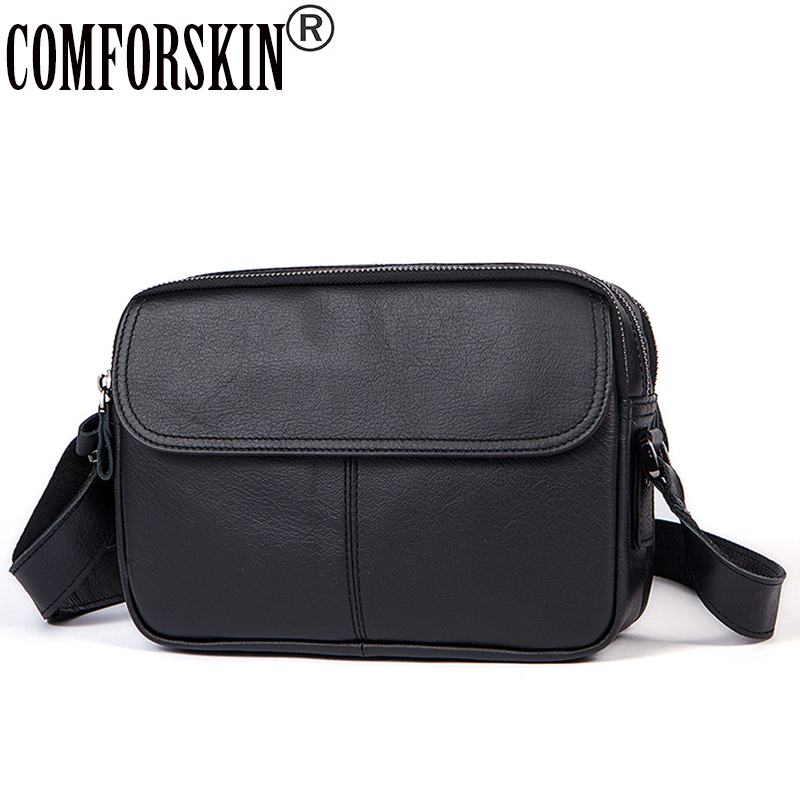 COMFORSKIN Luxurious 100% Cowhide Leather Men Cross-body Bag 2018 New Arrivals Cover Style Male Messenger Bag Large Capacity цена