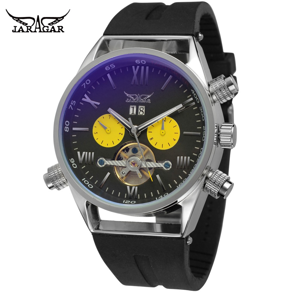 JARAGAR Tourbillon Automatic Watches Man Coated Glass Day Date Mechanical Watch Luxury Brand Silicone Bands Male Clock переходник buro lightning m minijack f белый bhp ret ada lght jck