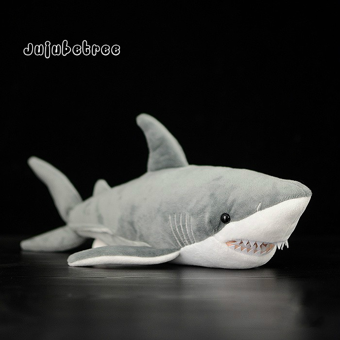 White shark Carcharodon carcharias Imitation plush toy stuffed fish dolls kids gift mr froger carcharodon megalodon model giant tooth shark sphyrna aquatic creatures wild animals zoo modeling plastic sea lift toy